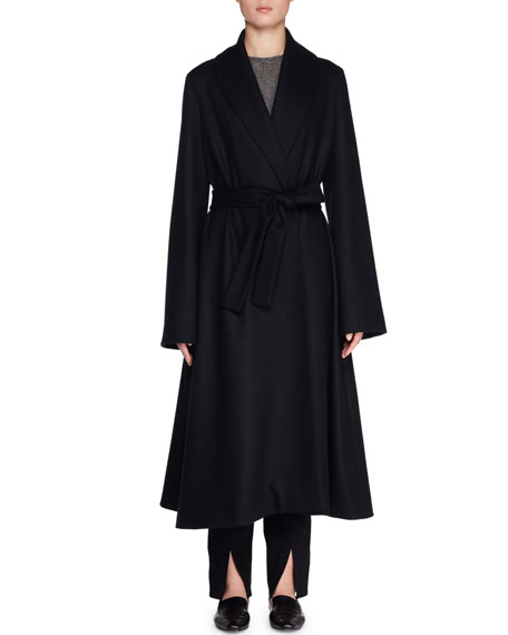 Parlia Belted Wool Wrap Coat in Black