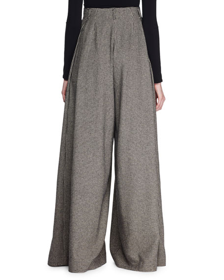 Garcia Pleated Mini-Houndstooth Palazzo Pants