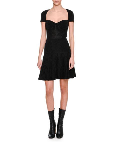 Metallic Armour Knit Corset Minidress, Black