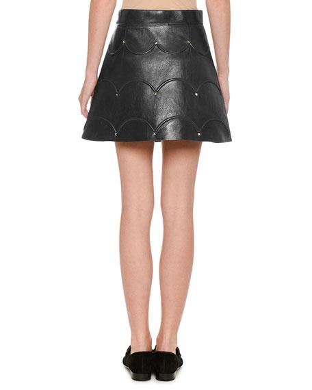Scalloped Rockstud Leather A-Line Miniskirt