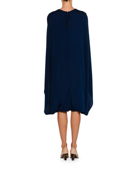 Crewneck Cape-Front Belted Short Dress