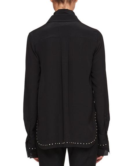 Scarf-Neck Crepe De Chine Silk Shirt w/ Rhinestone Embroidery