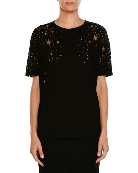 Stella McCartney Short-Sleeve Burnout Stars T-Shirt