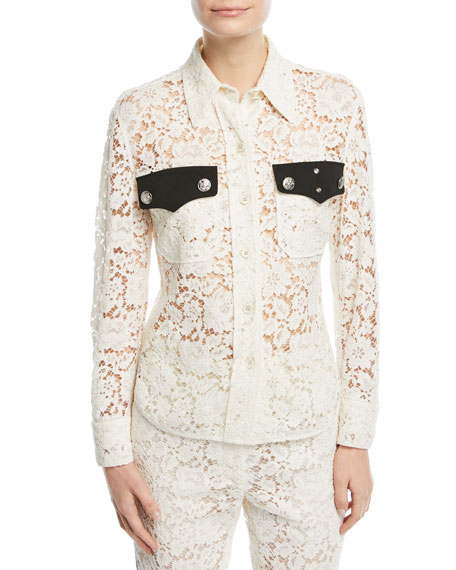 CALVIN KLEIN 205W39NYC Western-Style Lace Blouse