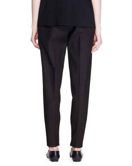 High-Rise Tapered-Leg Wool-Blend Pants