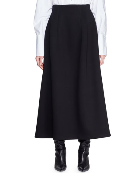 Lantely A-Line Long Viscose Skirt