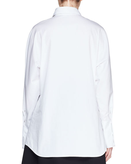 Bill Button-Front Long-Sleeve Cotton Shirt