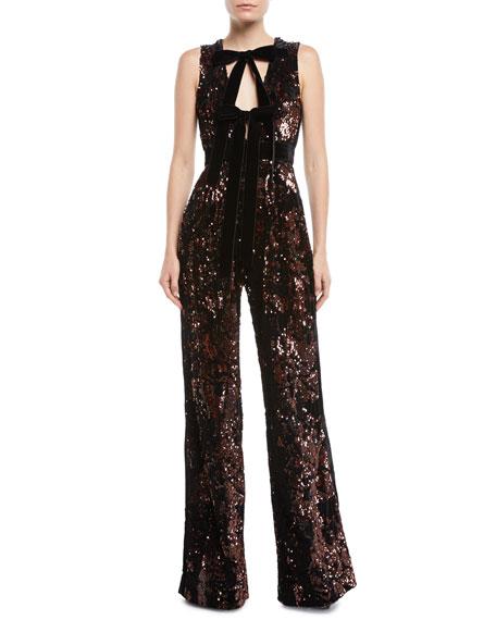 Sleeveless Wide-Leg Paillette Jumpsuit w/ Velvet Bow
