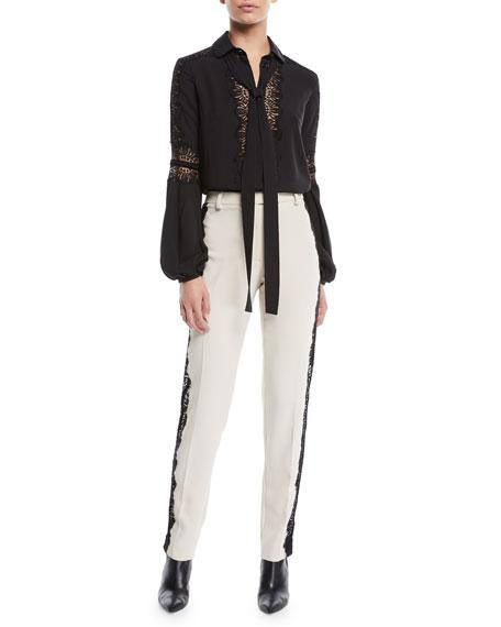 Slim Straight-Leg Silk Pants w/ Lace Inserts