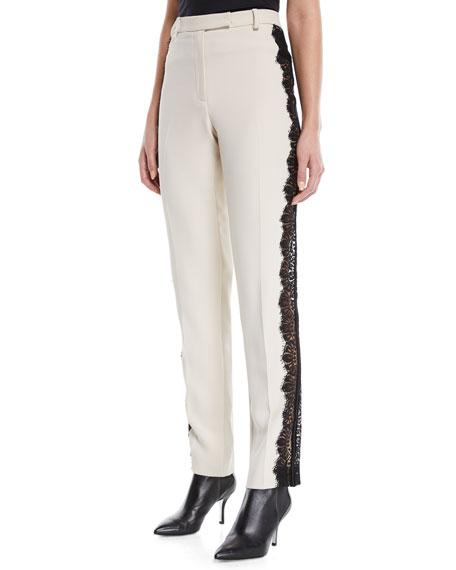 Elie Saab Slim Straight-Leg Silk Pants w/ Lace