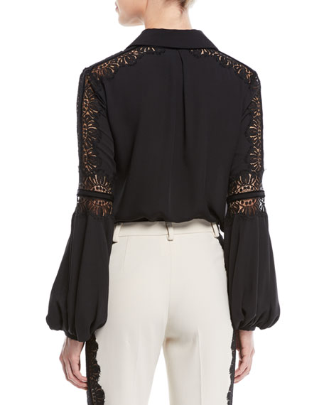 Blouson-Sleeve Crepe Georgette Blouse w/ Lace Inserts