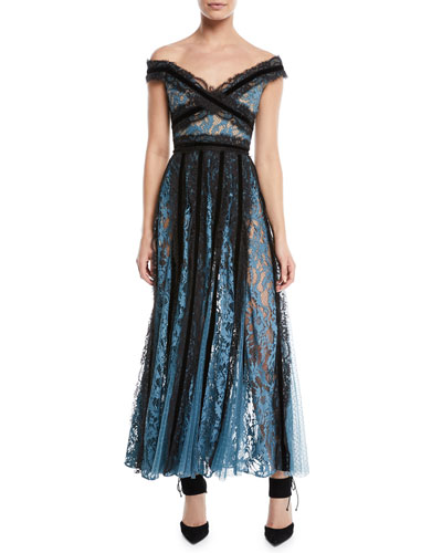 Off-the-Shoulder Mixed-Lace Evening Gown