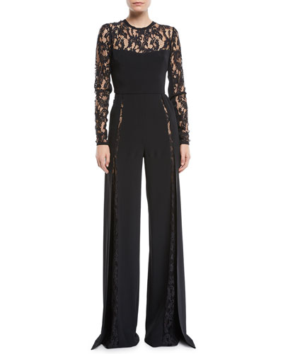 Long-Sleeve Wide-Leg Crepe Jumpsuit w/ Lace Inserts