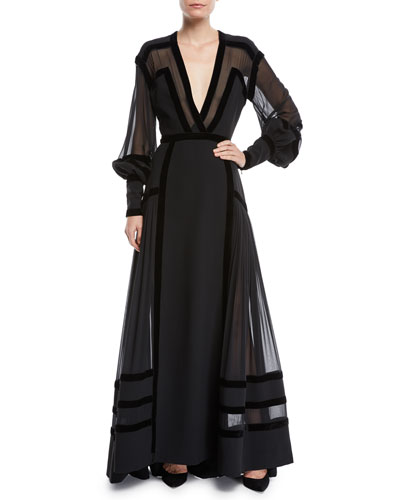 Plunging Long-Sleeve Crepe Cady & Georgette Evening Gown