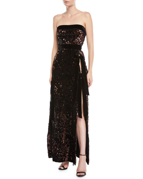 Strapless Side-Slit Paillette Evening Gown with Velvet Bows