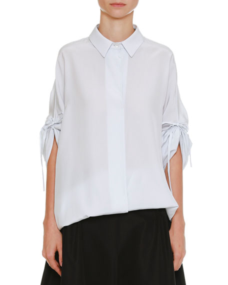 Spread-Collar Drawstring-Sleeves Button-Front Silk Blouse