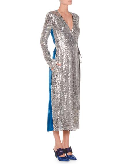 Long-Sleeve Sequin and Velvet Robe Wrap Cocktail Dress