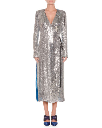 Long-Sleeve Sequin and Velvet Robe Wrap Cocktail Dress