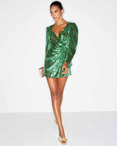Sweetheart-Neck Long-Sleeve Sequin Mini Dress