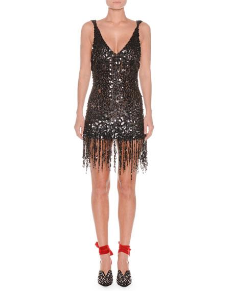 Deep-V Sequin Open-Back Fringe-Hem Cocktail Dress