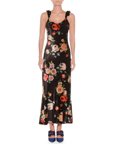 Scoop-Neck Tie-Strap Floral-Print Velvet Ankle-Length Gown