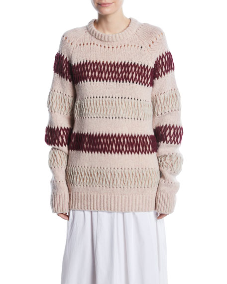 Crewneck Floating-Knit Cross Stitch Wool Sweater