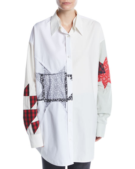 CALVIN KLEIN 205W39NYC Long-Sleeve Button-Front Patchwork Tunic