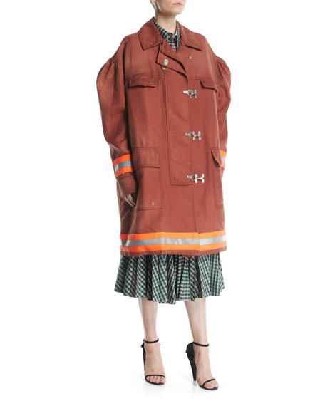 Couture-Sleeve Clasp-Front Fireman Coat w/ Reflective Stripes