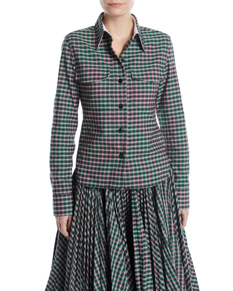 CALVIN KLEIN 205W39NYC Button-Front Long-Sleeve Check Shirt and