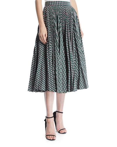 Full Circle Pleated Check Calf-Length Skirt