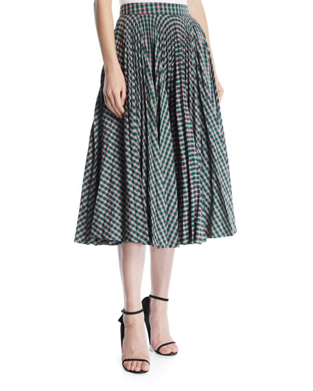 Full Circle Pleated Check Calf-Length Skirt