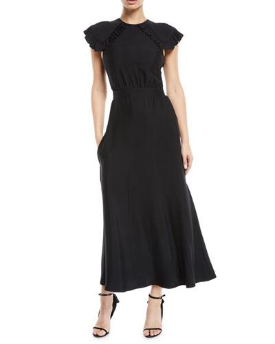 Ruffled Cap-Sleeve Fitted-Waist A-Line Midi Dress