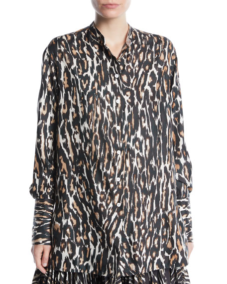 Long-Sleeve Button-Front Leopard-Print Silk Twill Blouse