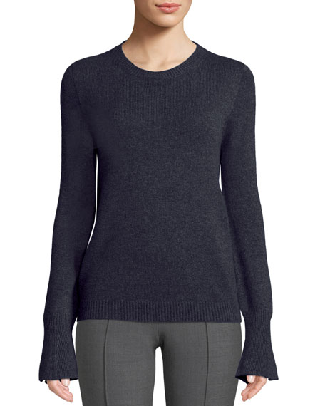 Agnona Crewneck Trumpet-Cuffs Cashmere Pullover Sweater and