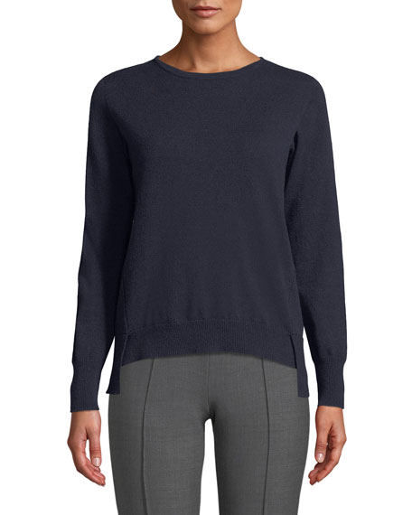 Agnona Crewneck Long-Sleeve 12-Gauge Cashmere Pullover Sweater w/