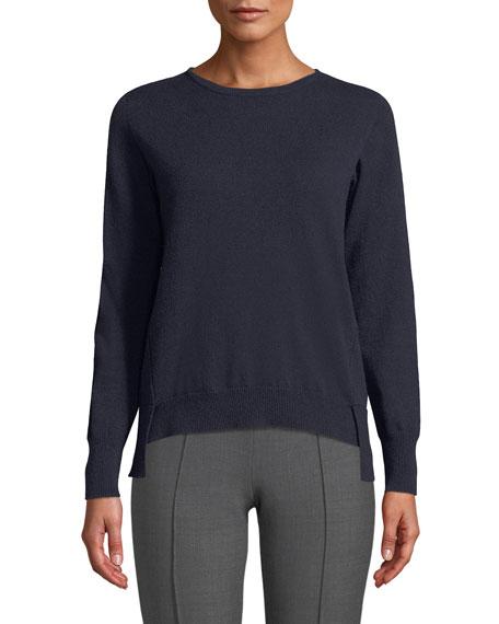 Crewneck Long-Sleeve 12-Gauge Cashmere Pullover Sweater w/ Step-Hem