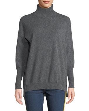 ff2ff1fc35bb Agnona Eternals 12-GG Cashmere Geo-Slit Dropped-Shoulder Turtleneck Sweater