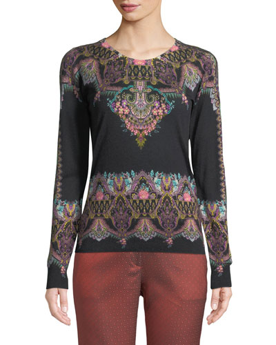 Chain-Paisley Silk-Cashmere Crewneck Sweater