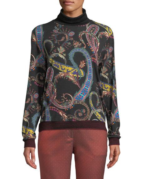 Scroll Paisley Print Wool Jersey Sweater
