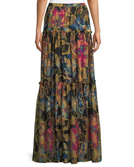 Mixed-Print Long Tiered Silk Skirt