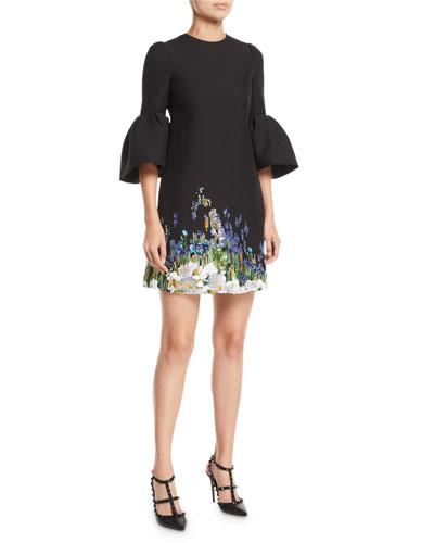 Jewel-Neck 3/4 Bell-Sleeve A-Line Crepe Cocktail Dress w/ Beaded Floral Embroidery