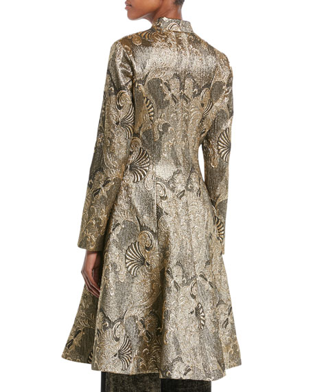 Tie-Front Metallic-Jacquard Topper Coat