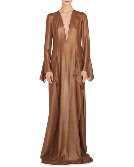 Plunging Long-Sleeve Side-Slit Draped Metallic-Silk Evening Gown