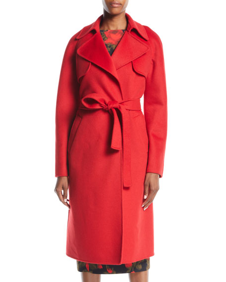 Double-Face Cashmere Melton Trench Robe Coat