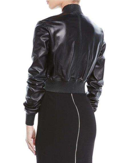 Zip-Front Plonge Leather Cropped Bomber Jacket