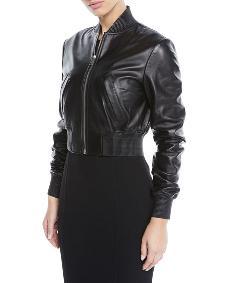 Michael Kors Collection Zip-Front Plonge Leather Cropped Bomber