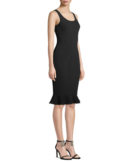 Scoop-Neck Sleeveless Body-con Boucle-Knit Dress w/ Ruffle Hem
