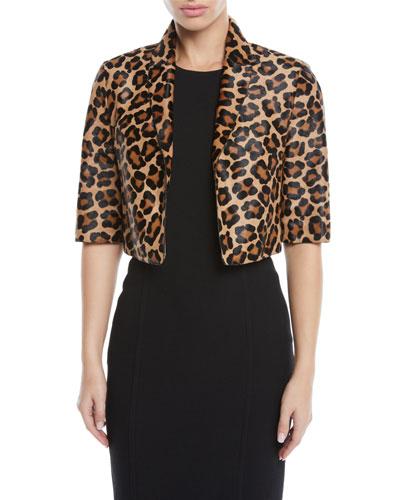 Leopard-Print Calf Hair Cropped Bolero Jacket