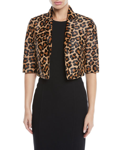 Leopard-Print Calf Hair Cropped Bolero Jacket