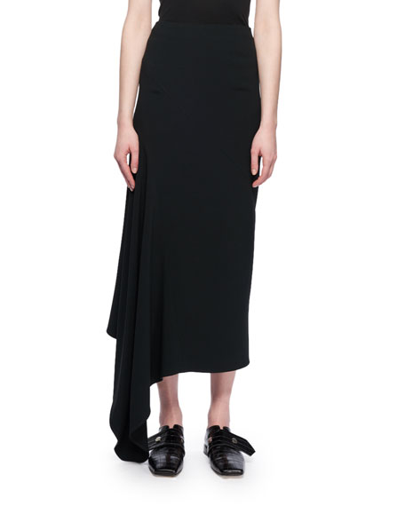 Asymmetric-Hem A-Line Calf-Length Crepe Skirt